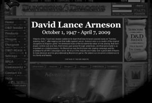 D&D公式ページに掲載されたDavid Lance Arneson氏死去のお知らせ