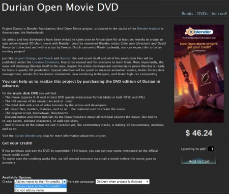 Durian Open Movie DVD 予約画面