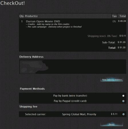 Blender Store チェックアウト画面