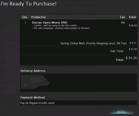 Blender Store 注文確認画面