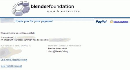 PayPal 決済完了画面