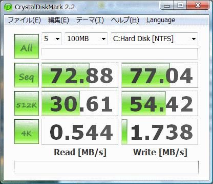 WD5000AAKS CrystalDiskMark 2.2ベンチマーク結果