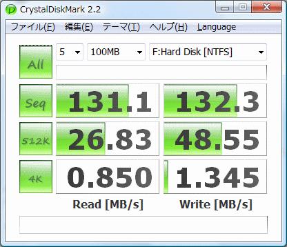 HDS722020ALA330 CrystalDiskMark 2.2ベンチマーク結果