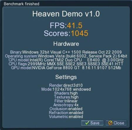 UNiGiNE Heaven Demo v1.0 デフォルト設定では41.6fps