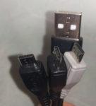 データ&充電用三又USBケーブル 端子差込口